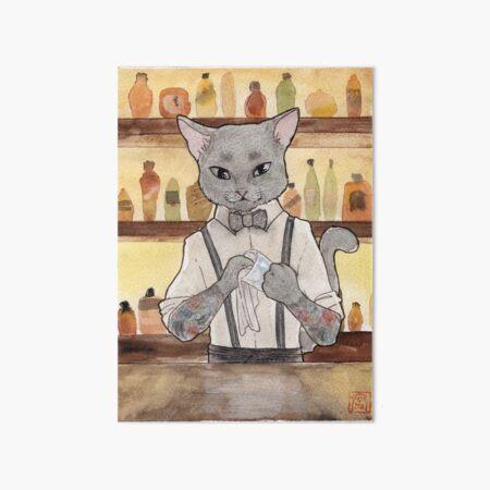 Bartender Cat Takeshi Art Board Print