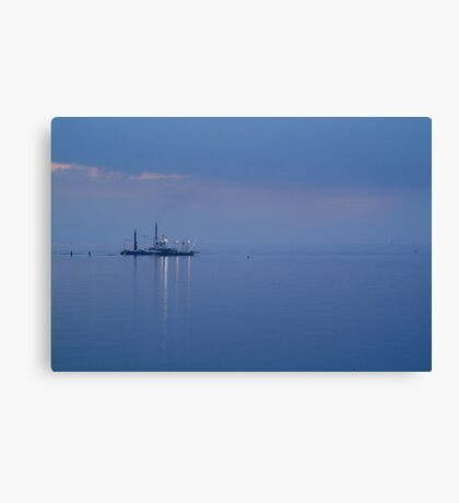 Dredging,Misty Twilight, Queenscliff Canvas Print