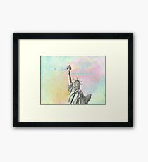 """""""...With Liberty & Justice For All.""""  Statue of Liberty, New York Framed Print"""