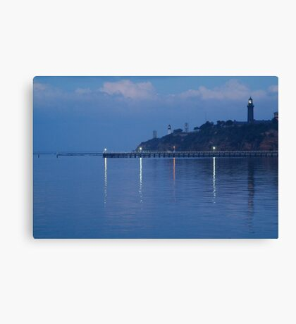 Twin Lighthouses in the Mist,Queenscliff Canvas Print