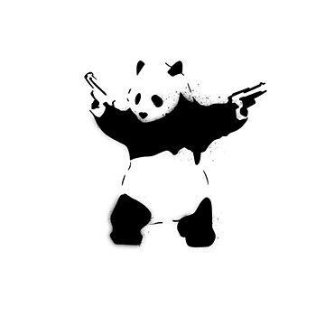 Bansky Panda - Plain Stencil Art White by Markmaw