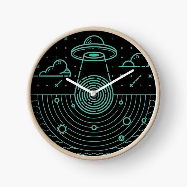Ufo in dark night.  Clock