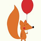 Fox With A Red Balloon by KarinBijlsma