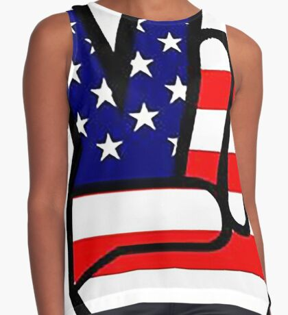 Peace sign HAND American Flag Contrast Tank