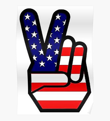 Peace sign HAND American Flag Poster