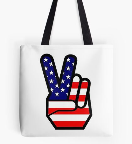 Peace sign HAND American Flag Tote Bag
