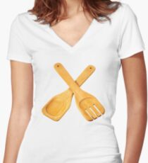Spoon and fork Women's Fitted V-Neck T-Shirt