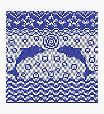 Dolphins knitted pattern Photographic Print