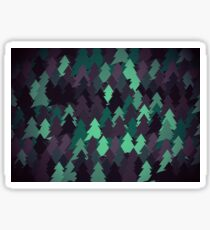 Green, brown and blue forest. Spruce forest illustration. Nature background of trees. Green trees texture. Wood drawings. Wanderlust. Adventure and nature Sticker