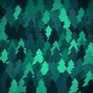 Spruce forest illustration. Nature background of trees. Green trees texture. Wood drawings. Wanderlust. Adventure and nature by aquapixel