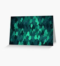 Spruce forest illustration. Nature background of trees. Green trees texture. Wood drawings. Wanderlust. Adventure and nature Greeting Card