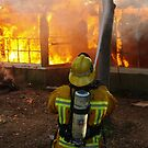 Firefighter from LA Co FD Engine 44 working at a training fire, image 2 by chibiphoto