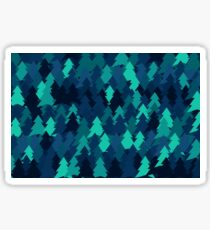 Blue woodland. Spruce forest illustration. Nature background of trees. Green trees texture. Wood drawings. Wanderlust. Adventure and nature Sticker