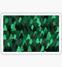 Green woodland. Spruce forest illustration. Nature background of trees. Green trees texture. Wood drawings. Wanderlust. Adventure and nature Sticker