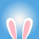 Bunny Easter ears. Blue background. Rabbit ears illustration by aquapixel