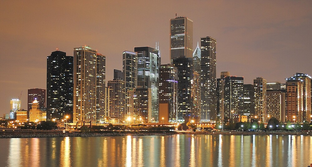 Chicago Skyline, as seen from Navy Pier by asharamu