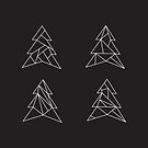 Geometric trees. Modern spruce illustration. Simple hipster design. Minimalist coniferous forest by aquapixel
