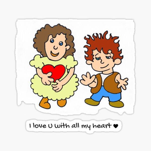 I love u with all my heart - blue - by Laila Cichos Sticker