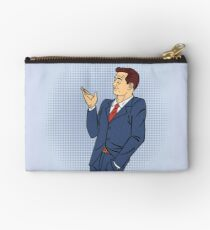 Advertising Man in Pop Art Style Pointing Hand on your Product Studio Pouch
