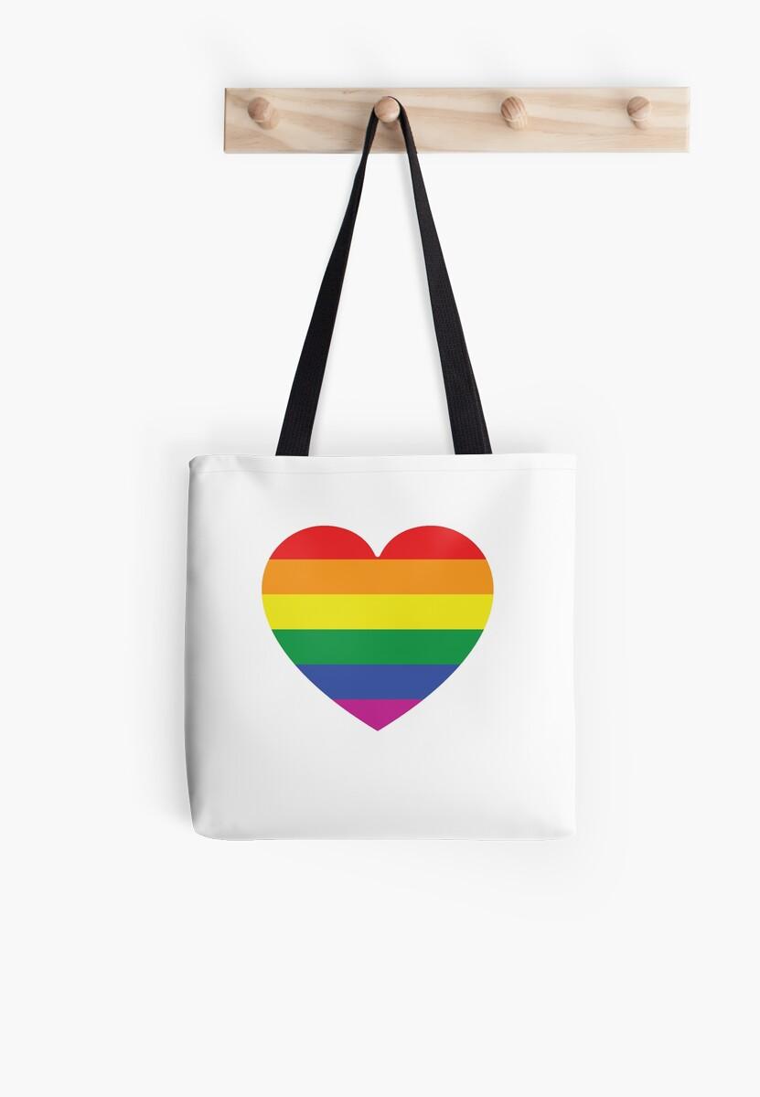 Gay Pride Rainbow Heart Lgbt Tote Bags By Wanderlust