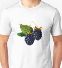 Watercolor illustration with berries and blackberry leaves. T-Shirt