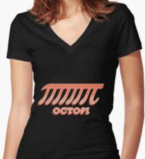 Octopi  Pi    Funny Nerd   Geek Humor  Retro Style Women's Fitted V-Neck T-Shirt