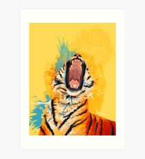 Wild Yawn - Tiger portrait, colorful tiger, animal illustration Art Print