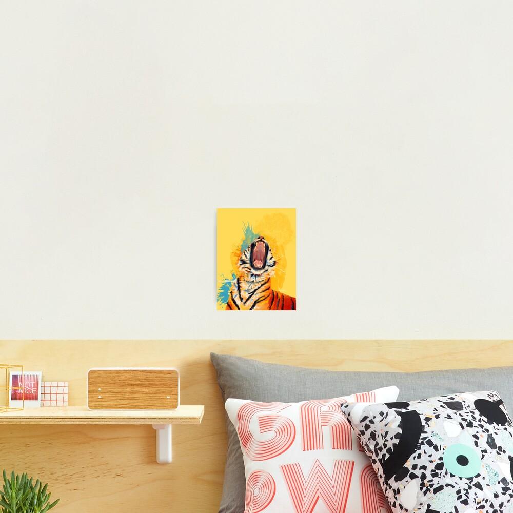 Wild Yawn - Tiger portrait, colorful tiger, animal illustration Photographic Print