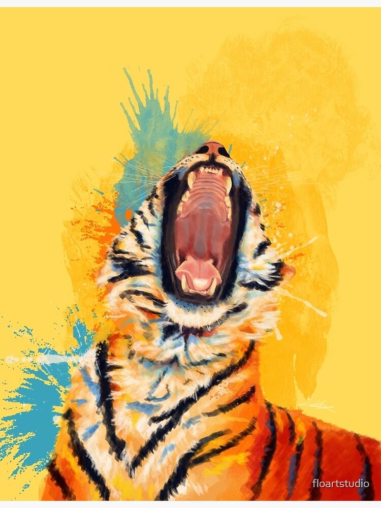Wild Yawn - Tiger portrait, colorful tiger, animal illustration by floartstudio