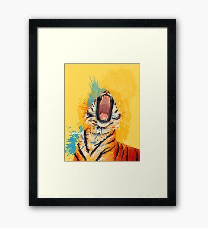 Wild Yawn - Tiger portrait Framed Print