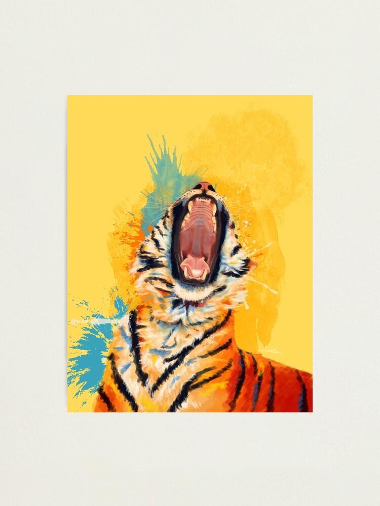 Alternate view of Wild Yawn - Tiger portrait, colorful tiger, animal illustration Photographic Print