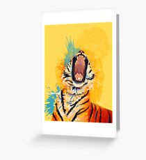 Wild Yawn - Tiger portrait, colorful tiger, animal illustration Greeting Card