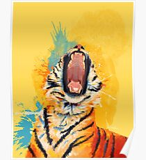 Wild Yawn - Tiger portrait, colorful tiger, animal illustration Poster