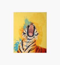 Wild Yawn - Tiger portrait, colorful tiger, animal illustration Art Board