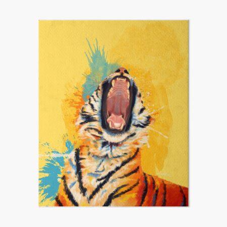 Wild Yawn - Tiger portrait, colorful tiger, animal illustration Art Board Print
