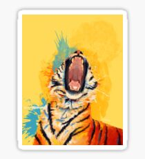 Wild Yawn - Tiger portrait, colorful tiger, animal illustration Sticker
