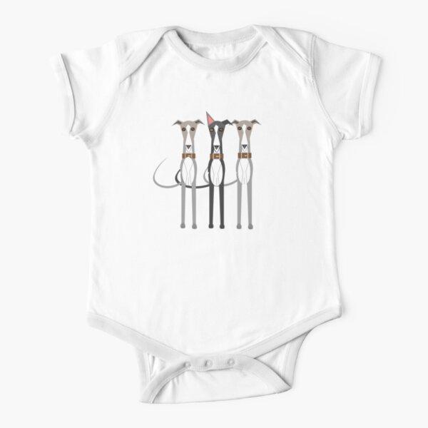Three cartoon whippets Short Sleeve Baby One-Piece