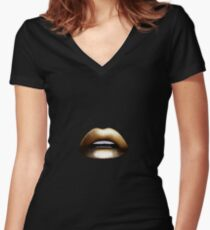 Sexy Gold Lips Women's Fitted V-Neck T-Shirt