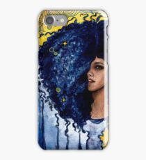 Blue curls watercolor and ink iPhone Case/Skin
