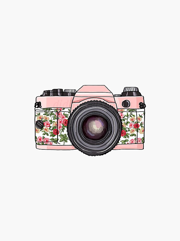 Quot Floral Camera Quot Stickers By Mgreenlee15 Redbubble