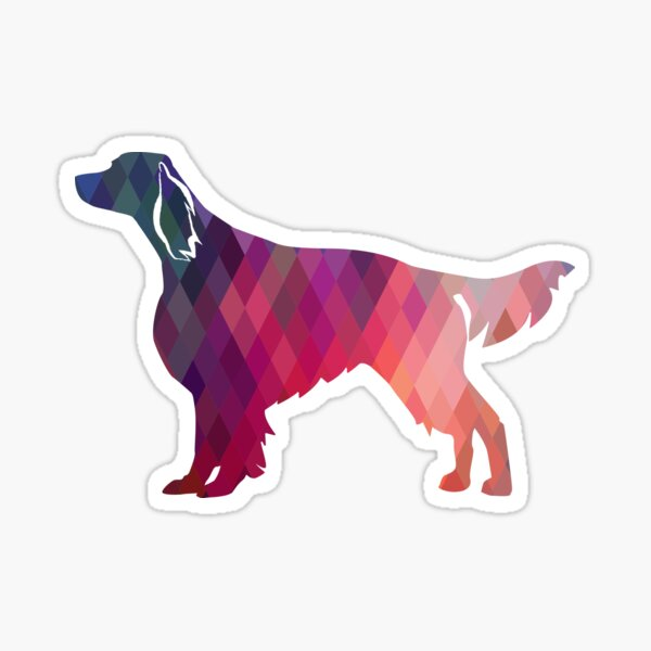 Irish Red and White Setter Dog Breed Geometric Pattern Silhouette - Pink Sticker