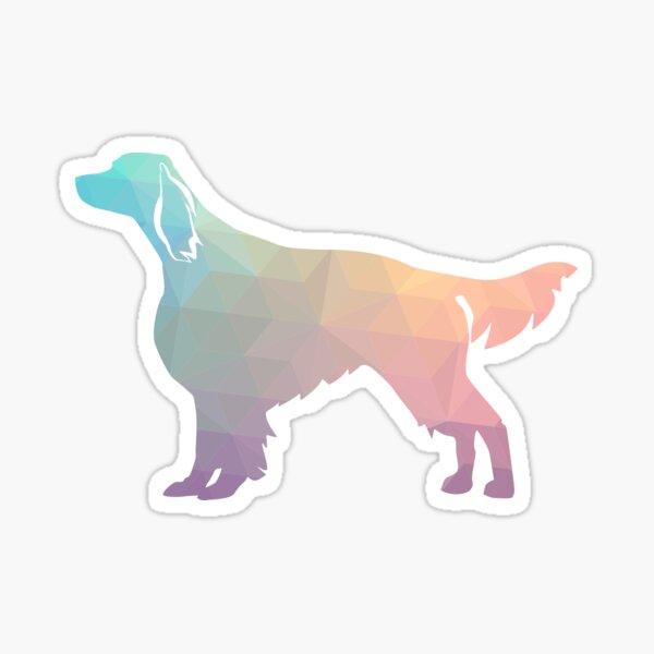 Irish Red and White Setter Dog Breed Geometric Pattern Silhouette - Pastel Sticker