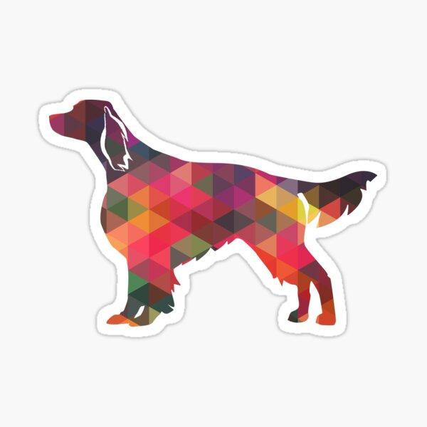Irish Red and White Setter Dog Breed Geometric Pattern Silhouette - Multi Sticker