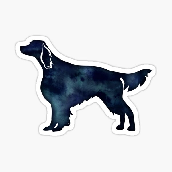 Irish Red and White Setter Dog Breed Black Watercolor Silhouette Sticker