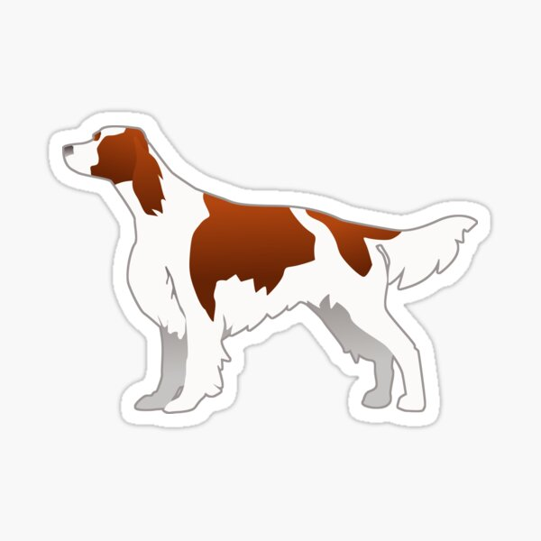 Irish Red and White Setter Dog Breed Illustration Silhouette Sticker