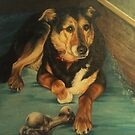Old Toby and His Bone by Pam Humbargar