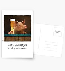 Will Bullas / card / beer ... because you can drink bacon... / humor / animals Postcards