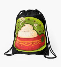 Hot Coffee in Black Drawstring Bag