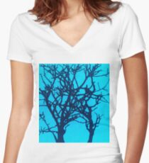 Tree Sihouette Women's Fitted V-Neck T-Shirt
