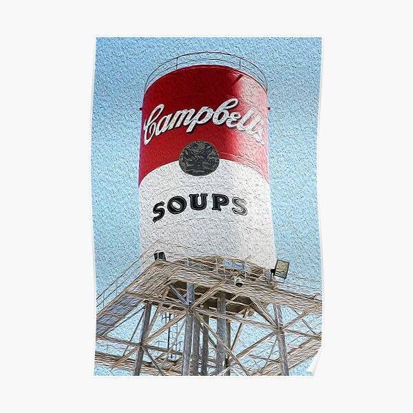 Campbell's Soup Water Tower in Faux Oil Poster